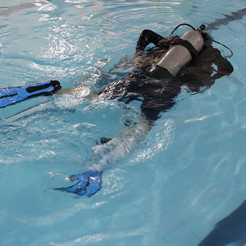 Venha mergulhar em piscina com equipamento de mergulhador