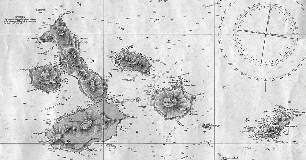 Mapa de Galápagos utilizado por Charles Darwin