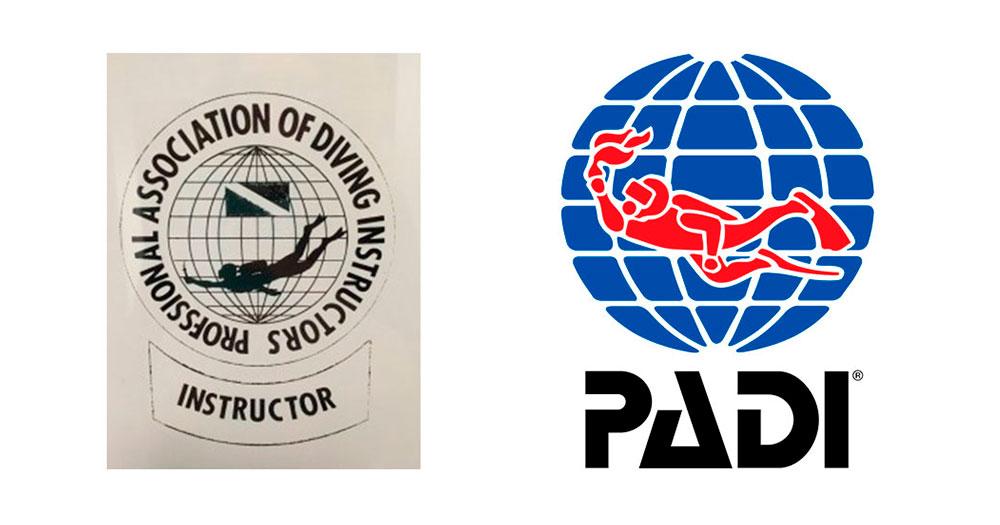 O primeiro logotipo da PADI, criado em 1966, comparado com o atual.