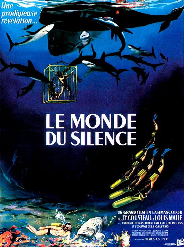 """Cartaz original do filme """"O Mundo de Silêncio"""", de Jacques Cousteau"""