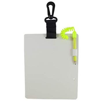 Quando os sinais de mergulho não forem suficientes, usamos uma caderneta a prova d'água