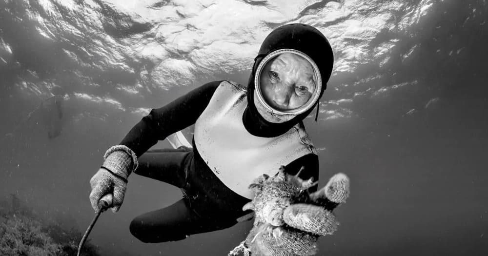 Mergulhadoras tradicionais da Ásia